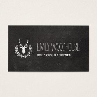 Deer Antlers   Rustic Chalkboard Business Card