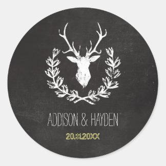 Deer Antlers | Rustic Chalkboard Envelope Seal Classic Round Sticker
