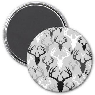 Deer Antlers Skull pattern 3 Inch Round Magnet