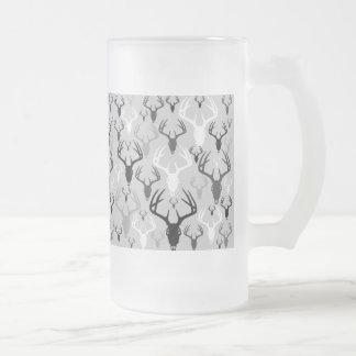 Deer Antlers Skull pattern Frosted Glass Beer Mug