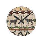 Deer Antlers Western Rustic Wooden Tribal Pattern Round Clock