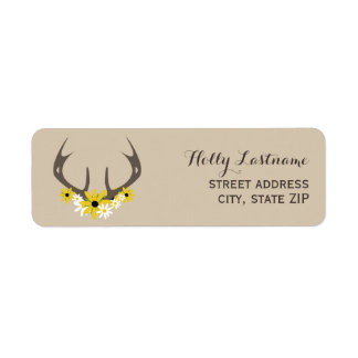 Deer Antlers + Wildflowers Address Label