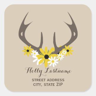 Deer Antlers + Wildflowers Address Sticker