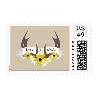 Deer Antlers + Wildflowers Save The Date Postage