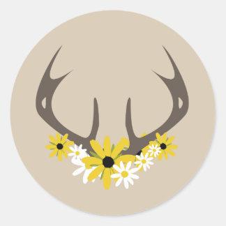 Deer Antlers + Wildflowers Sticker