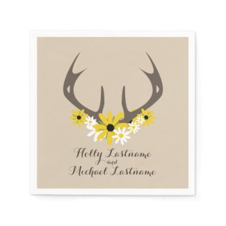 Deer Antlers + Wildflowers Wedding Napkins Disposable Napkin