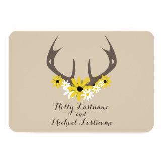 Deer Antlers + Wildflowers Wedding R.S.V.P. Card