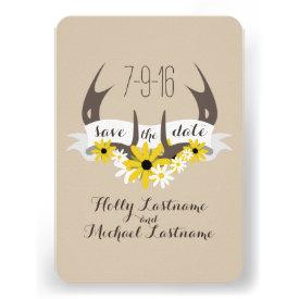 Deer Antlers   Wildflowers Wedding Save The Date Personalized Invitation
