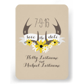Deer Antlers   Wildflowers Wedding Save The Date Personalized Announcement