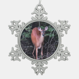 Deer At Forest Pond Pewter Snowflake Ornament at Zazzle