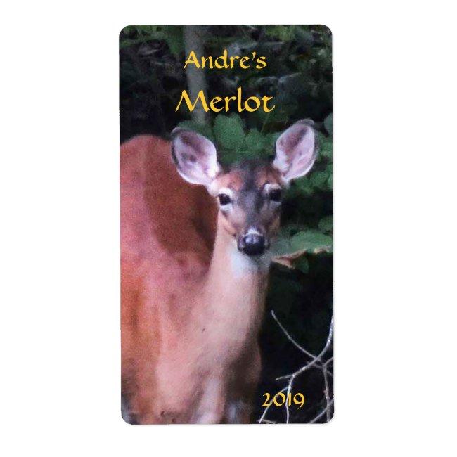 Deer at Forest Pond Wine Label