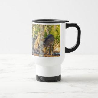 Deer at Holly Tree in Snow Travel Mug