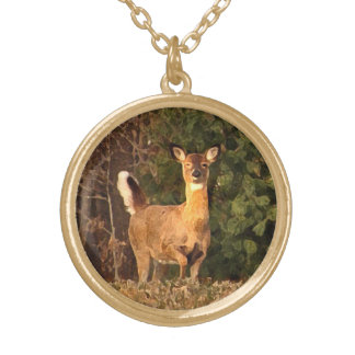 Deer at Sunrise Gold Plated Necklace