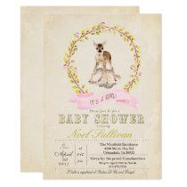 Deer Baby Shower Girl Invitation