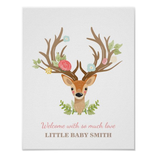Deer Baby Shower Guestbook Fingerprints Woodland Zazzle