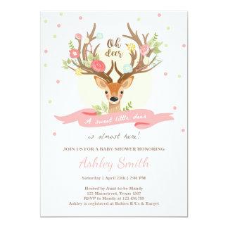Deer baby shower invitation Woodland Antlers Girl