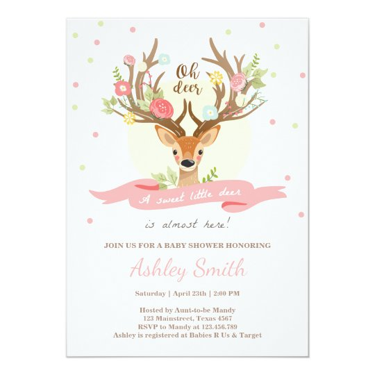 Deer Baby Shower Invitation Woodland Antlers Girl Zazzle