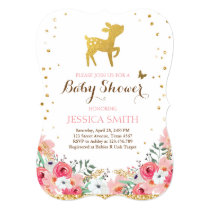 Deer baby shower invitation Woodland Girl Floral