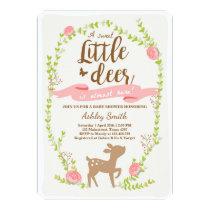 Deer baby shower invitation Woodland Girl pink