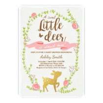 Deer baby shower inviteWoodland Girl pink gold Card