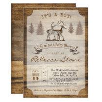 Deer Baby Shower Wood Invitation