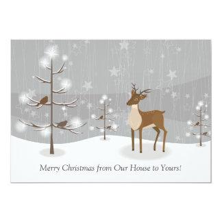 Deer Birds Snowflakes Forest Christmas Card