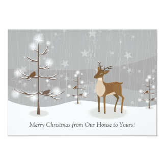 "Deer Birds Snowflakes Forest Christmas 5"" X 7"" Invitation Card"