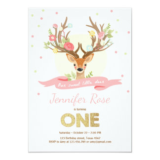 Deer birthday invitate Antlers Woodland Gold Pink Card