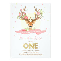 Deer birthday invite Antlers Woodland Gold Pink