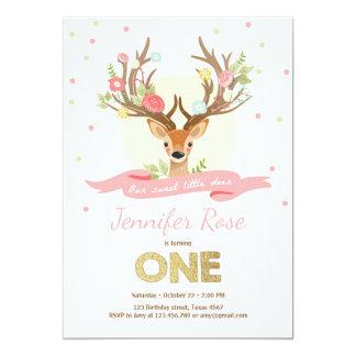Deer birthday invite Antlers Woodland Gold Pink