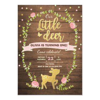 Deer birthday invite Girl Pink Gold Woodland Party