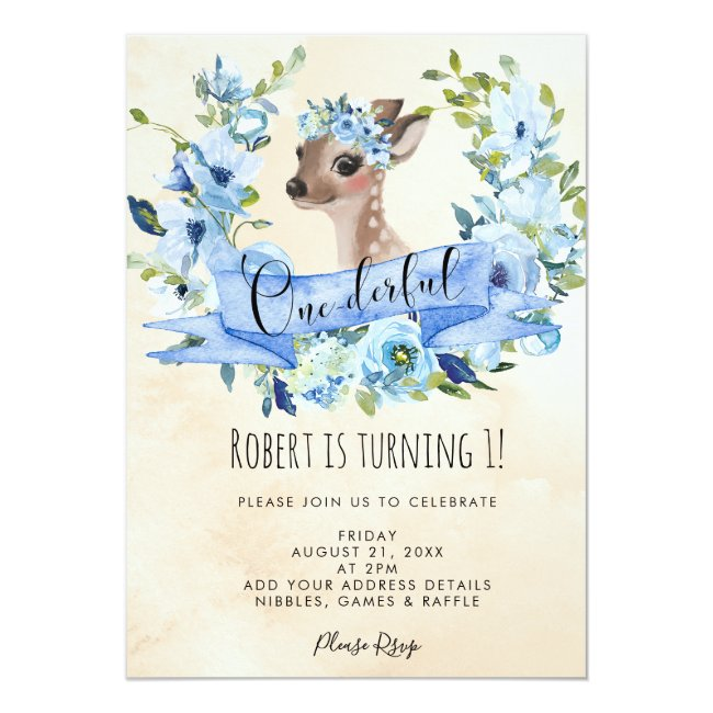 deer blue floral onederful 1st birthday invitation