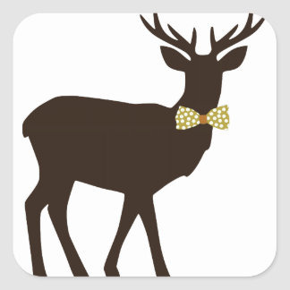 deer bow square sticker
