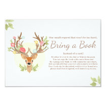 Deer Bring a book card Antlers Baby Shower