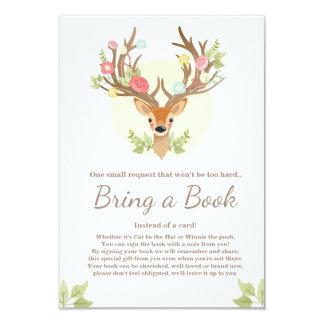 Deer Bring a book card Antlers Baby Shower