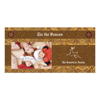 Deer brown classic christmas photocard photo card template