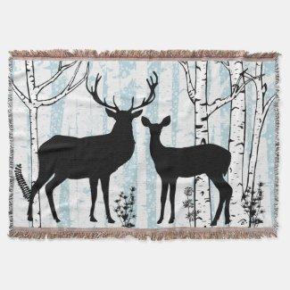 Deer Buck and Doe Birch Forest Throw Blanket