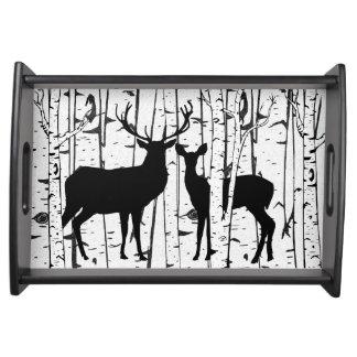 Deer Buck and Doe Birch Sky Serving Tray