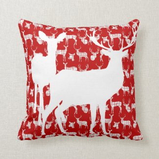 Deer Buck and Doe Red and White Pillow