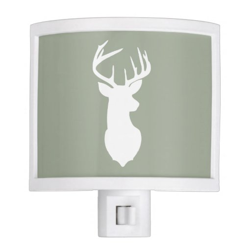 Deer Buck Head Night Light - Khaki Green