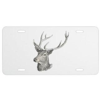 Deer Buck Head with Antlers Drawing License Plate