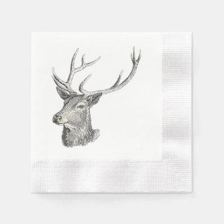 Deer Buck Head with Antlers Drawing Paper Napkin