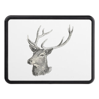 Deer Buck Head with Antlers Drawing Tow Hitch Cover