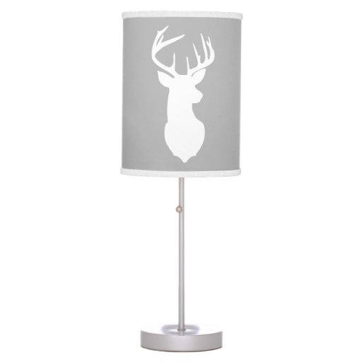 Deer Buck Hunter Nursery Lamp Gray/White Trim