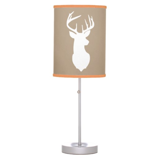Deer Buck Hunter Nursery Lamp Tan / Orange Trim