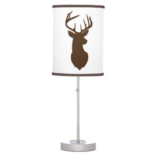 Deer Buck Hunter Nursery Lamp White / Brown Trim