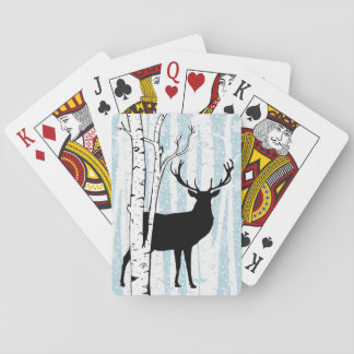 Deer Buck in Birch Forest Playing Cards