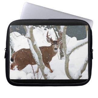 Deer Buck in Snow in Winter Computer Sleeve