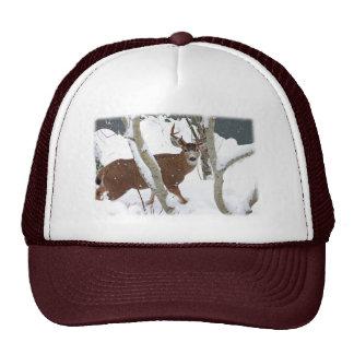 Deer Buck in Snow in Winter Trucker Hat