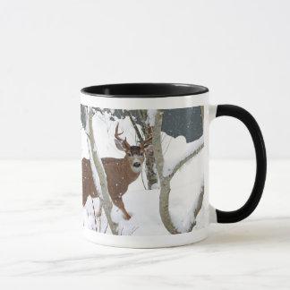 Deer Buck in Snow in Winter Mug